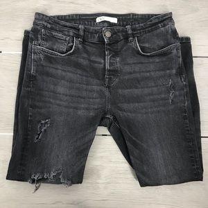 Zara black distress jeans size 34